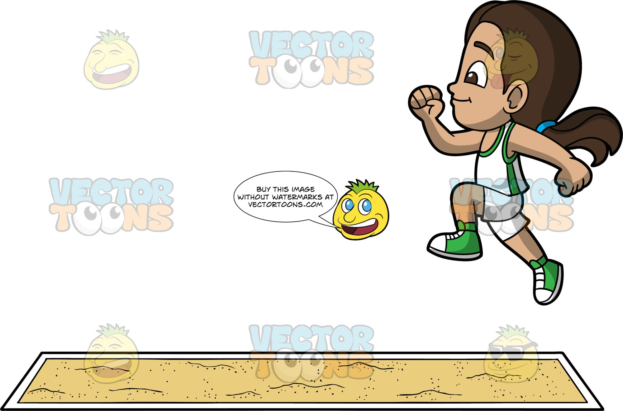 Young Isabella Jumping Into A Long Jump Pit. A young Hispanic girl wearing white shorts, a white and green tank top, and green running shoes, jumping in the air and getting ready to land in a pit of sand