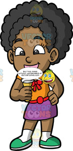 Young Jackie Eating An Ice Cream. A young black girl wearing a purple skirt, red belt, an orange shirt with a red bow, and green shoes, licking her delicious ice cream in a cone