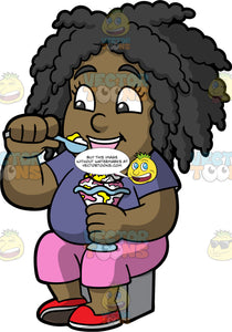 Young Lisa Eating An Ice Cream Sundae. A black girl wearing pink pants, a purple shirt, and red shoes, sitting down and preparing to put a spoonful of ice cream in her mouth