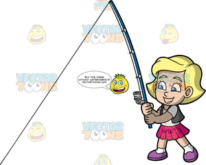 Young Mary Having Fun Fishing. A young blonde girl wearing a pink skirt, a vest over a white t-shirt, and purple shoes, holding a fishing rod and trying to catch a fish