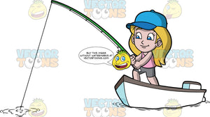 Young Stacey Fishing In A Boat. A young girl wearing gray shorts, a pink tank top, and a blue baseball hat, standing in a small boat and fishing