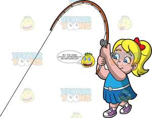 Young Pat Trying To Pull In A Big Fish. A chubby blonde girl wearing a blue skirt, a white belt, a light blue tank top, and purple sneakers, pulls on her fishing rod trying to catch a fish