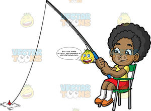 Young Jackie Sitting And Fishing. A cute black girl wearing a red skirt, a yellow t-shirt, white socks, and orange shoes, sitting in a green chair and trying to catch a fish