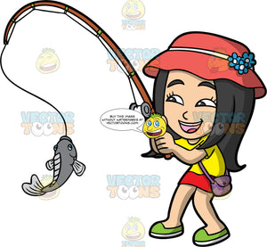 Young Connie Happy About Catching A Fish. An Asian girl wearing a red skirt, a yellow t-shirt, green shoes, a purple purse, and a sun hat, smiling because and admiring the fish she just caught