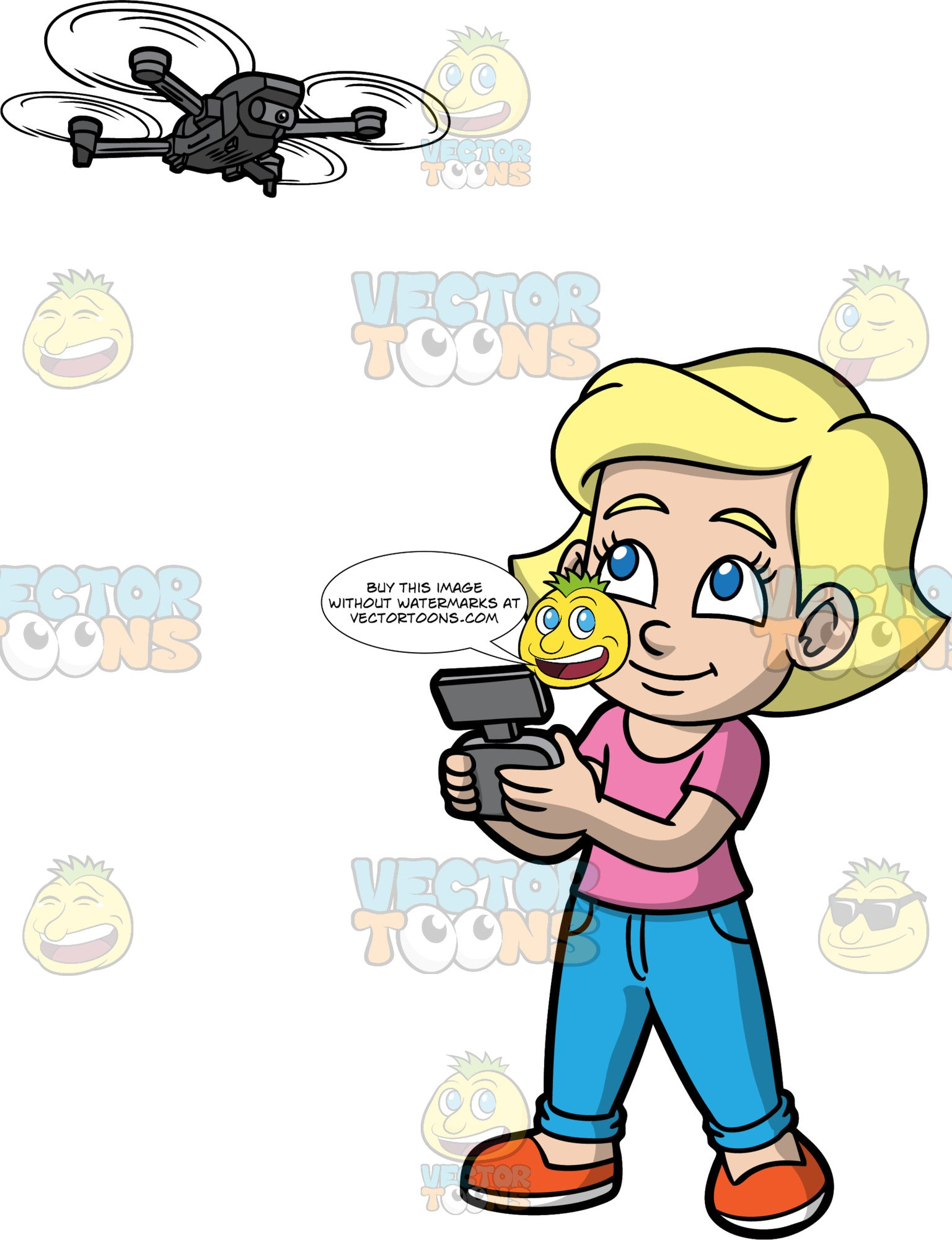 Young Mary Flying A Remote Controlled Drone. A young blonde girl wearing blue jeans, a pink t-shirt, and orange shoes, using a remote to control a flying drone