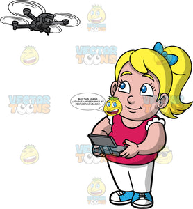 Young Pat Flying A Drone. A young blonde girl wearing white pants, a dark pink shirt, and blue sneakers, standing and using a remote control to fly a hobby drone