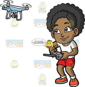 Young Jackie Having Fun Flying A Drone. A young black girl wearing red shorts, a white t-shirt, white socks, and orange shoes, smiles as she uses a remote control to fly a hobby drone