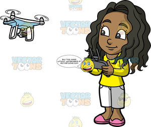 Young Maggy Flying A Hobby Drone. A young black girl with long, wavy hair, wearing long white shorts, a long sleeve yellow shirt, and pink shoes, standing and using a remote to fly a white personal drone
