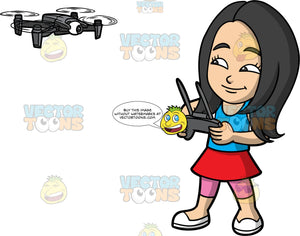 Young Connie Flying A Drone With A Remote Control. A young Asian girl wearing pink leggings under a red skirt, a blue tank top, and white shoes, standing and using a remote control to fly a drone