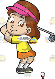A Petite Girl Playing Golf