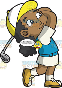A Black Girl Swinging A Golf Club