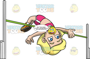 Young Mary Doing A Fosbury Flop Over A High Jump Bar. A young blonde girl wearing pink with white shorts, a pink shirt, and orange running shoes, jumping over a green high jump bar