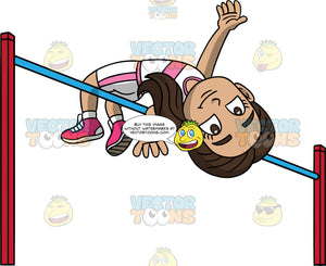 Young Isabella Jumping Over A High Jump Bar. A young Hispanic girl wearing white with pink shorts, a white with pink shirt, and pink running shoes, jumps over a horizontal high jump bar