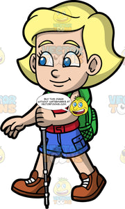 Young Mary Going For A Hike. A blonde girl wearing blue shorts, a red tank top, a green backpack, and brown hiking boots, holding onto a walking pole as she hikes along a trail