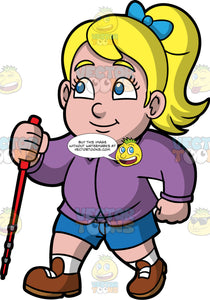 Young Pat Hiking On A Nice Day. A chubby blonde girl wearing blue shorts, a long sleeve purple shirt, and brown hiking shoes, holding a walking pole in one hand as she goes on a leisurely hike