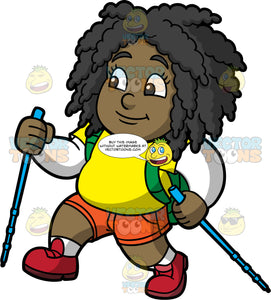 Young Lisa Hiking Up A Hill. A chubby black girl wearing orange shorts, a yellow t-shirt over a long sleeve white shirt, red hiking shoes, and a green backpack, holding onto walking poles as she treks up a steep hill