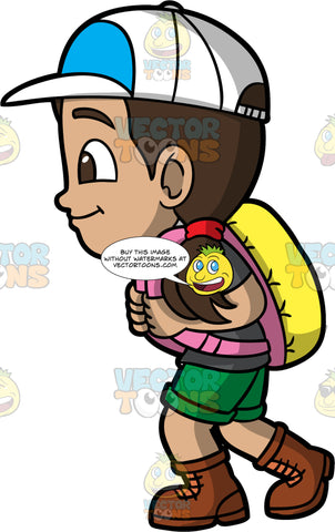 Young Isabella Enjoying A Leisurely Hike. A Hispanic girl wearing green shorts, a gray t-shirt, brown hiking boots, a baseball hat, and a pink and yellow backpack, walking on a hiking trail on a sunny day