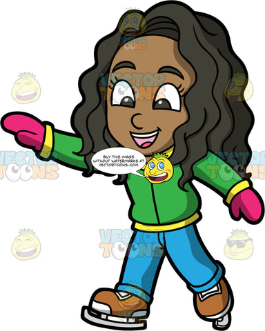 Young Maggy Ice Skating On A Winter Day. A black girl wearing blue pants, a green and yellow jacket, pink mittens, and brown ice skates, having fun ice skating on cold day