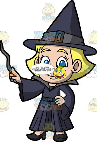 Young Mary Dressed As A Witch. A blonde girl wearing a dark blue dress with a big collar, and wide sleeves, black shoes, and a dark blue pointed witch hat, holding onto a crooked wand