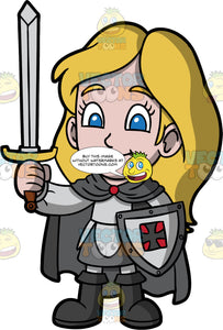 Young Stacey Dressed Up As A Knight. A young girl wearing a gray knight costume standing with one hand holding shield and the other hand holding up a sword