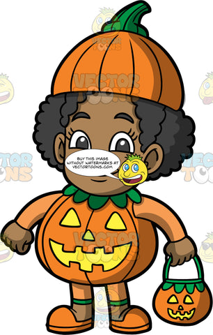 Young Jackie Dressed Up As A Pumpkin. A black girl wearing an orange pumpkin costume with a face on the body, a frilly green collar around the neck, and a pumpkin top on her head, as she stands holding a jack-o'-lantern in her hand