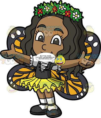 Young Maggy Wearing A Butterfly Costume. A black girl wearing a butterfly Halloween costume consisting of a yellow skirt, a black vest over a white shirt, orange, black and white wings on her back, and a floral crown on her head