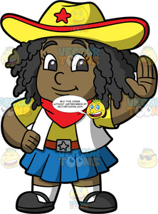 Young Lisa Wearing A Cowgirl Halloween Costume. A black girl standing and giving a high five with one hand, wearing a blue skirt, a white vest over a yellow t-shirt, a red handkerchief around her neck, and a yellow hat with a red star on it