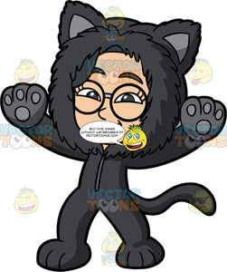 Young Lynn Dressed Up In A Cat Costume. An Asian girl wearing a furry black cat body suit and round eyeglasses, getting ready to go trick or treating