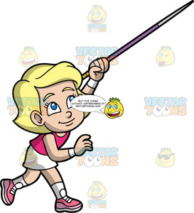 Young Mary Throwing A Javelin During A Competition. A young blonde girl wearing a white skirt, a pink tank top, and pink running shoes, throwing the javelin in her hand