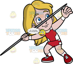 Young Stacey Competing In A Javelin Throwing Competition. A young girl with dark blonde hair wearing red with white shorts, a red with white tank top, and red running shoes, gets ready to throw the javelin in her hand