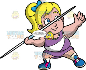 Young Pat In Position To Throw A Javelin. A chubby blonde girl wearing a purple skirt, a purple and white shirt, and blue shoes, stands in position and gets ready to throw a javelin