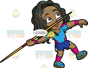 Young Maggy Holding A Javelin And Getting Ready To Throw It. A black girl wearing dark blue shorts, a blue with pink shirt, and blue running shoes, gets ready to throw a javelin