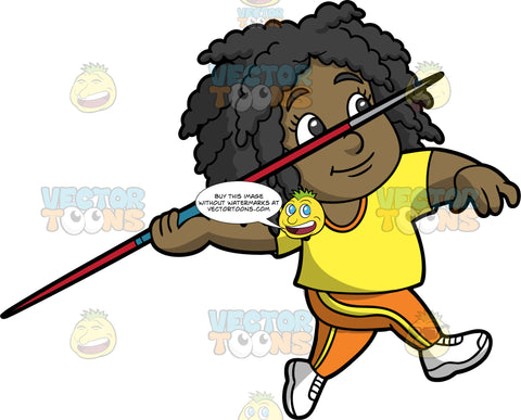Young Lisa Competing In The Javelin Throw. A young black girl wearing orange with yellow pants, a yellow shirt, and white running shoes, gets ready to throw the javelin in her hand
