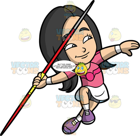 Young Connie Getting Ready To Throw A Javelin. An Asian girl wearing a white skirt, with gray shorts underneath, a pink shirt, and purple running shoes, pulls her arm back and prepares to throw the javelin in her hand