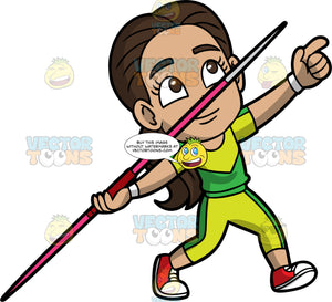 Young Gabriel About To Throw A Javelin. A young Hispanic girl wearing lime green pants, a lime green and lawn green shirt, and red running shoes, points and prepares to throw the javelin in her hand