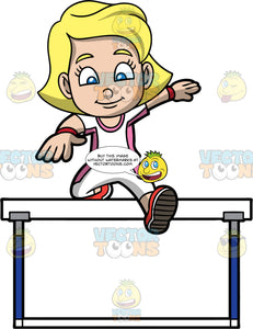 Young Mary Competing In A Hurdle Jumping Contest. A blonde girl wearing white with pink pants, a white with pink shirt, and red running shoes, jumping over a hurdle