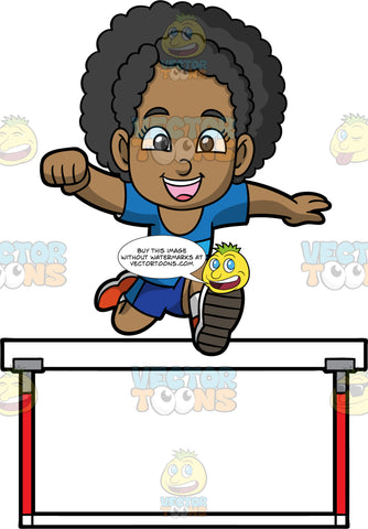 Young Jackie Jumping Over A Hurdle. A black girl wearing dark blue shorts, a blue shirt, and orange running shoes, smiles as she jumps over a hurdle
