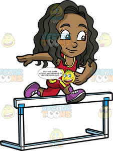 Young Maggy Jumping Over A Hurdle During A Race. A black girl wearing red with yellow pants, a red with yellow tank top, and purple running shoes, concentrates as she leaps over a hurdle