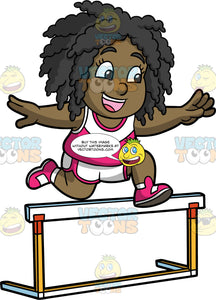 Young Lisa Jumping Over A Hurdle. A black girl wearing white with pink shorts, a pink and white tank top, and pink running shoes, smiling as she leaps over a hurdle