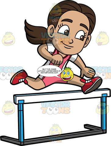Young Isabella Leaping Over A Hurdle. A Hispanic girl wearing pink with white shorts, a pink with white shirt, and red running shoes, concentrates as she jumps over a hurdle during a race