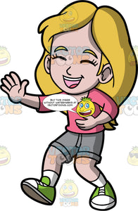 Young Stacey Laughing At A Funny Joke. A girl wearing gray shorts, a pink shirt, and green sneakers, holding her belly with one hand and laughing with her eyes closed