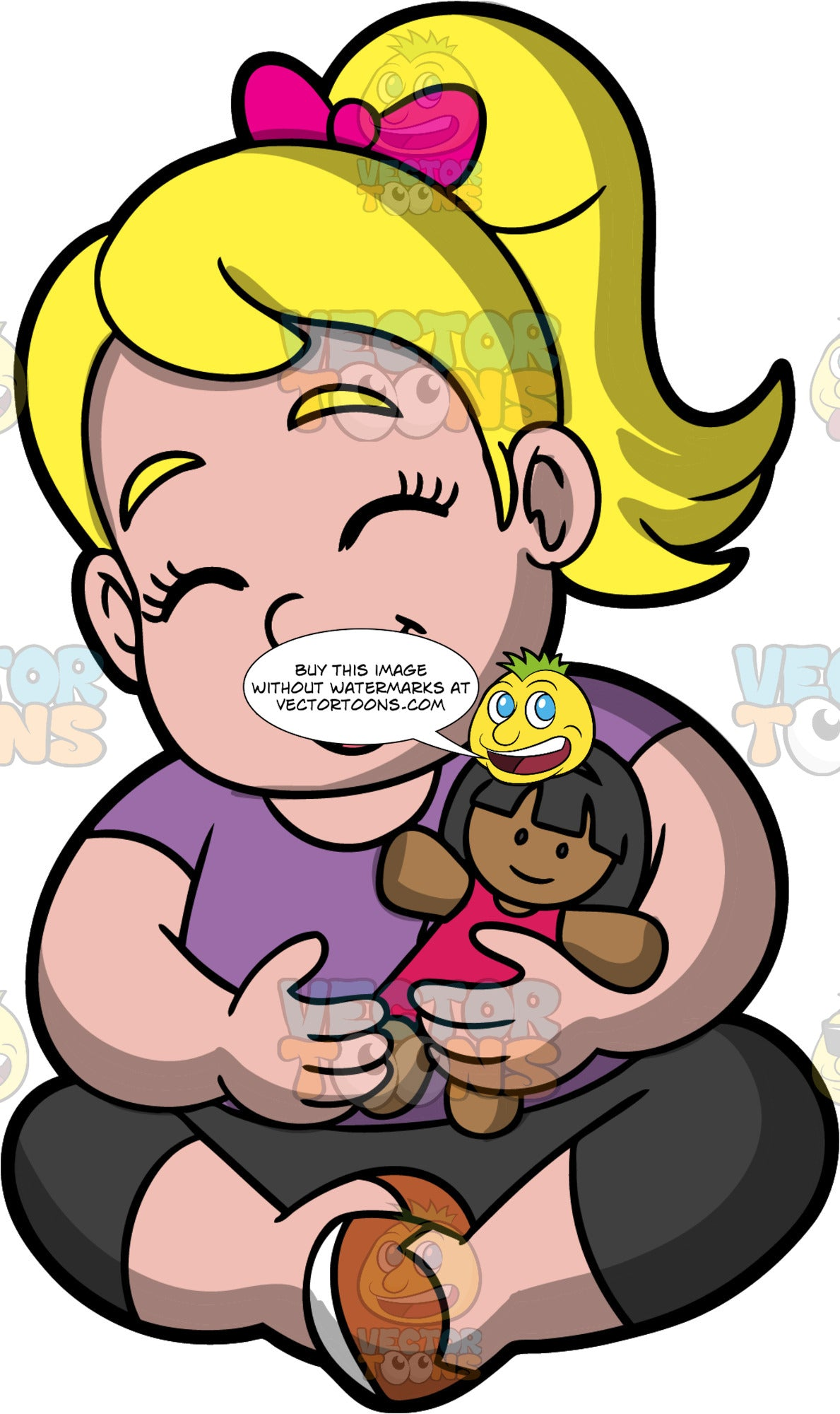 Young Pat Hugging Her Doll And Laughing. A chubby blonde girl wearing black pants, a purple shirt, and brown shoes, shitting on the floor holding her doll and laughing