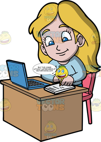 Young Stacey Taking Class Online. A girl wearing a light blue shirt, sitting at a desk with a blue laptop on it, taking notes while watching a class online