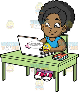 Young Jackie Learning Online. A black girl wearing a blue shirt, purple pants, and pink shoes, sitting behind a green desk and using a laptop to learn online