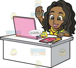 Young Maggy Taking Classes Online. A black girl wearing a yellow t-shirt, sitting behind a white desktop with a pink laptop on it, raising her hand to answer a question during an online class