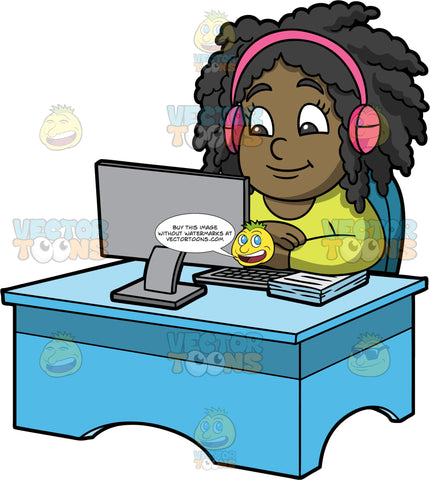 Young Lisa Watching An Online Lesson. A black girl wearing a long sleeve shirt and pink headphones, sitting behind a blue desk with a computer on it, and watching an online class