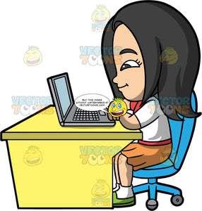 Young Connie Doing A Class Online. An Asian girl wearing an orange skirt, a white shirt, and green shoes, sitting on a blue chair behind a yellow desk, watching a class on her laptop