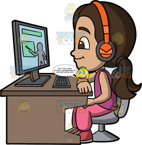 Young Isabella Learning Online. A Hispanic girl wearing pink pants, a purple shirt, red sneakers, and orange headphones, sitting at a desk and looking at a computer screen as she learns online