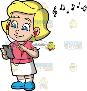 Young Mary Listening To Music. A blonde girl wearing a white skirt, a pink shirt, and blue shoes, listening to music through headphones