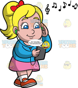 Young Pat Listening To Music On Her Headphones. A blonde girl wearing a pink skirt, blue shirt, and red shoes, walking and listening to music playing on her headphones